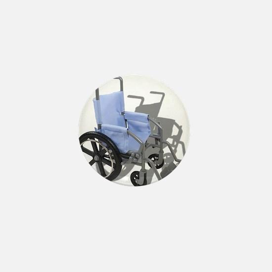 Wheelchair with Blue Seat Mini Button