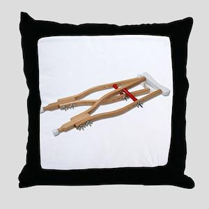 Wooden Crutches Throw Pillow
