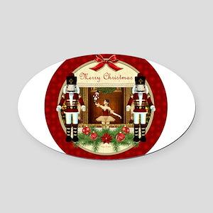 Red Nutcracker Christmas Ballerina Oval Car Magnet