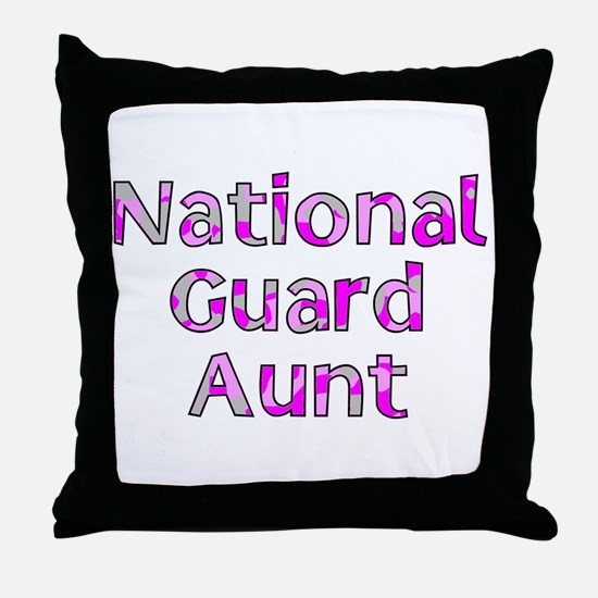 National Guard Aunt Pink Camo Throw Pillow