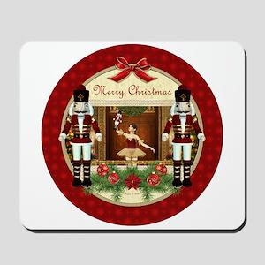Red Nutcracker Christmas Ballerina Mousepad