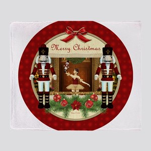 Red Nutcracker Christmas Ballerina Throw Blanket