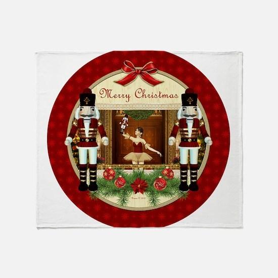 Red Nutcracker Christmas Ballerina Throw Blanket