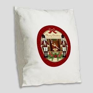 Red Nutcracker Christmas Balle Burlap Throw Pillow