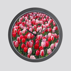 Dutch Tulips Red & Pink Wall Clock