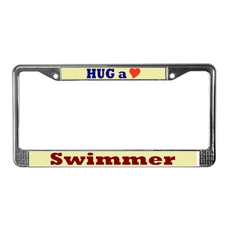 Hug a Swimmer License Plate Frame
