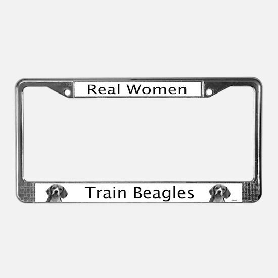 Real Women Train Beagles License Plate Frame