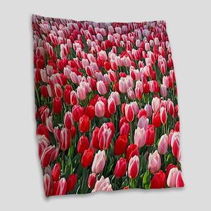 Dutch Tulips Red & Pink Burlap Throw Pillow