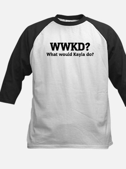 What would Kayla do? Kids Baseball Jersey