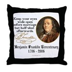 Ben Franklin Marriage Quote Throw Pillow