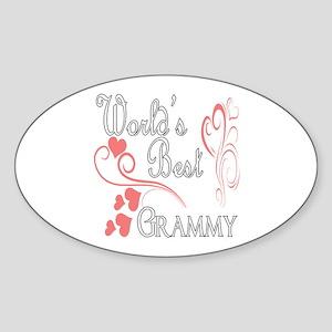 Best Grammy (Pink Hearts) Sticker (Oval)