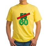 60th Birthday Gifts, 59 to 60 Yellow T-Shirt