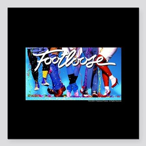"Footloose Dancing Feet Square Car Magnet 3"" x 3"""