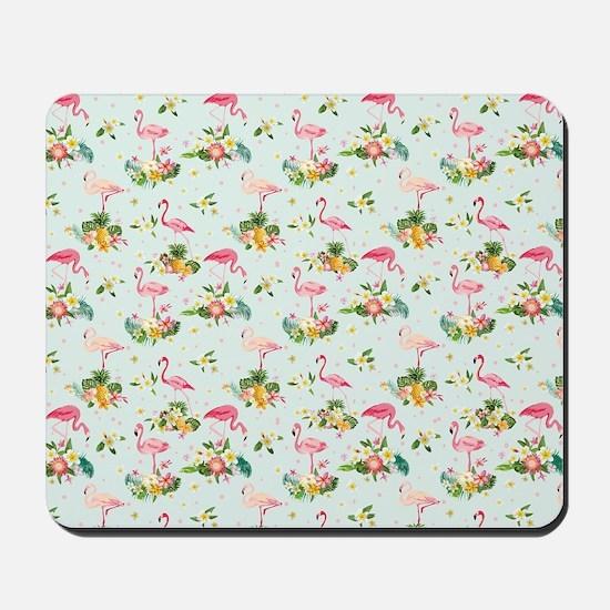 Retro Flamingos & Tropical Plants Pa Mousepad