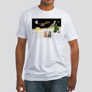 Night Flight-2 Tabbys Fitted T-Shirt