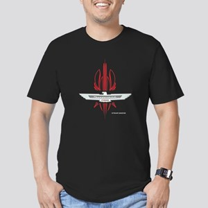 T Bird Emblem Pinstripes Men's Fitted T-Shirt (dar