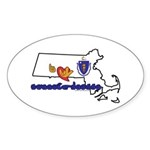 ILY Massachusetts Sticker (Oval 10 pk)