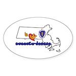ILY Massachusetts Sticker (Oval 50 pk)