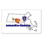 ILY Massachusetts Sticker (Rectangle 10 pk)