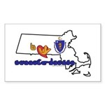 ILY Massachusetts Sticker (Rectangle 50 pk)