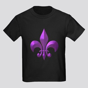 NOLA Purple Metallic Fleur Kids Dark T-Shirt