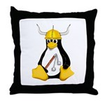 Tux the Viking Penguin Throw Pillow