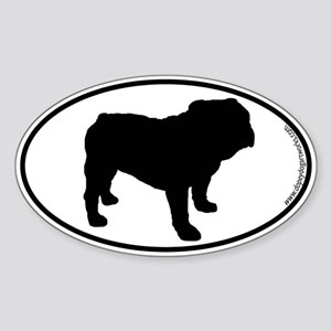 Bulldog SILHOUETTE Oval Sticker