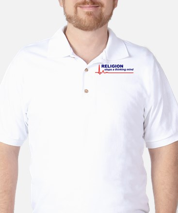 Religion Stops... White Golf Shirt (Front Only)