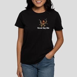 Never Say Die Logo 14 Women's Dark T-Shirt Design