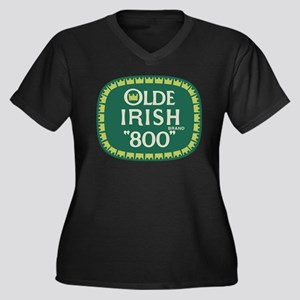 Olde Irish 800 Women's Plus Size V-Neck Dark T-Shi