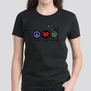 Peace Love Knitting Women's Dark T-Shirt