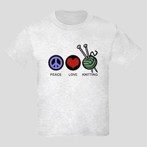Peace Love Knitting Kids Light T-Shirt