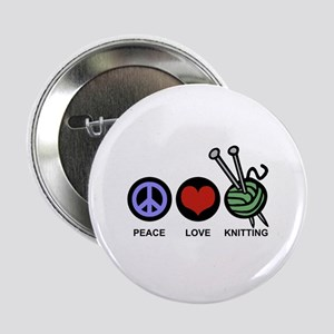 "Peace Love Knitting 2.25"" Button"