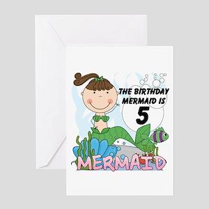 Mermaid 5th Birthday Greeting Card