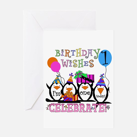 Silly Penguins 1st Greeting Card