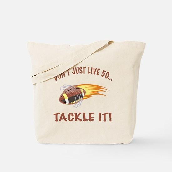 Tackle 50 Football Bday Tote Bag