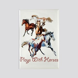 Plays With Horses Rectangle Magnet
