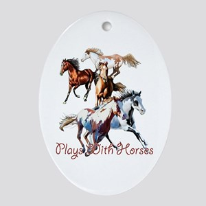 Plays With Horses Ornament (Oval)