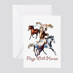 Plays With Horses Greeting Cards (Pk of 20)
