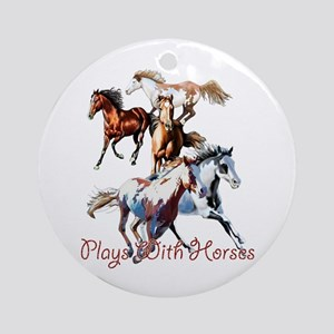 Plays With Horses Ornament (Round)
