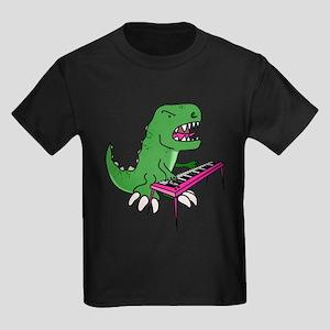 T-Rex Piano Kids Dark T-Shirt