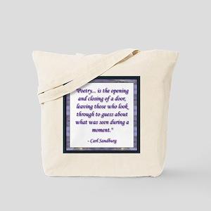 Sandburg Quote Tote Bag