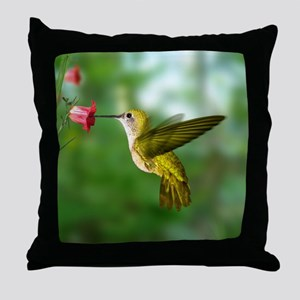 Hummingbird in Flight Bird Photo Throw Pillow