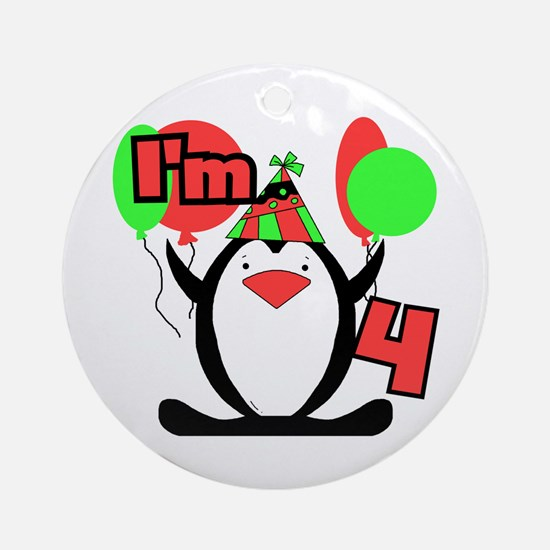 4th Party Penguin Ornament (Round)