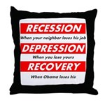Recession Depression Recovery Throw Pillow