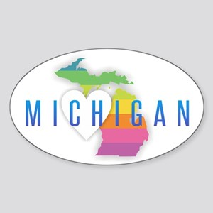Michigan Heart Rainbow Sticker