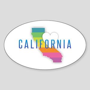 California Heart Rainbow Sticker