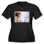 Dove Women's Plus Size V-Neck Dark T-Shirt