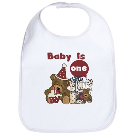 Bear 1st Birthday Red Bib