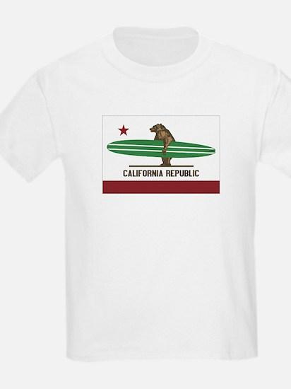 California Surfing Bear Longboard Flag T-Shirt